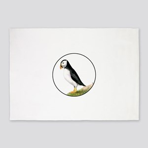 Puffin Bird Painting Artwork 5'x7'Area Rug