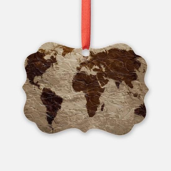 World Map Art Ornament