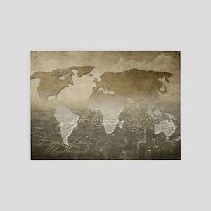 World Map Art 5'x7'Area Rug
