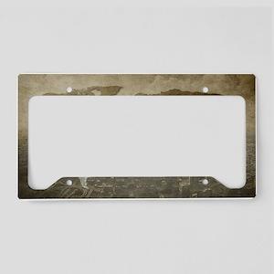 World Map Art License Plate Holder