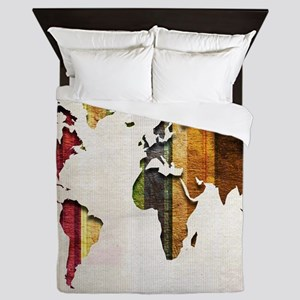 World Map Art Queen Duvet
