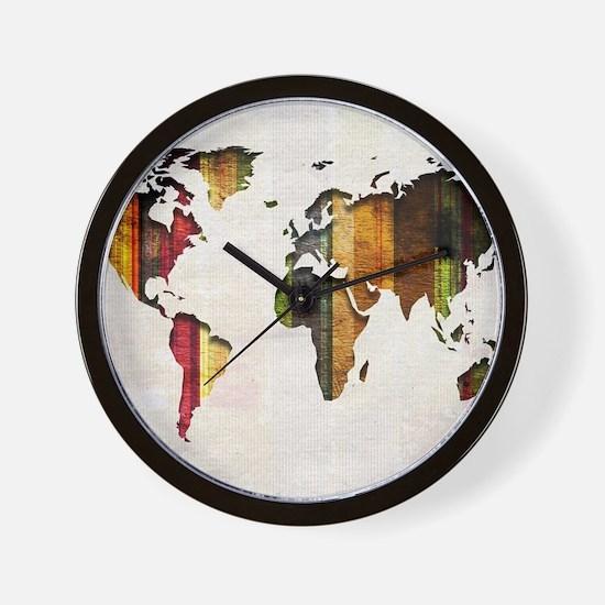World Map Art Wall Clock
