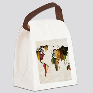 World Map Art Canvas Lunch Bag