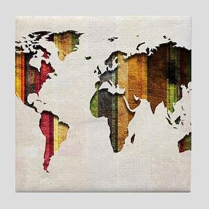 World Map Art Tile Coaster