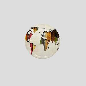 World Map Art Mini Button