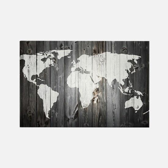 World Map Art Rectangle Magnet