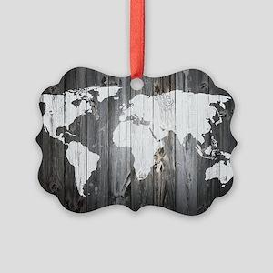 World Map Art Picture Ornament