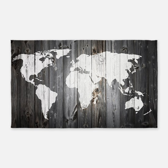 World Map Art Area Rug