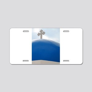 Santorini Cross in the Afte Aluminum License Plate