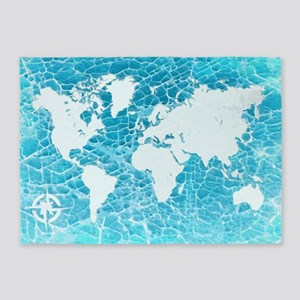 World Map 5'x7'Area Rug