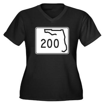 Route 200, F Women's Plus Size V-Neck Dark T-Shirt