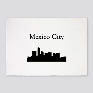 Mexico City Skyline 5'x7'Area Rug