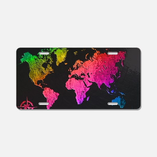 World Map Design Aluminum License Plate