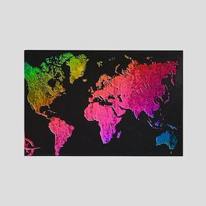 World Map Design Rectangle Magnet