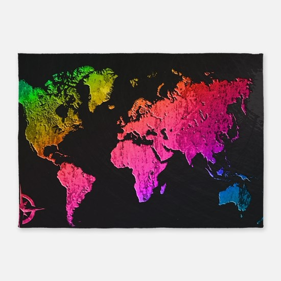 World Map Design 5'x7'Area Rug