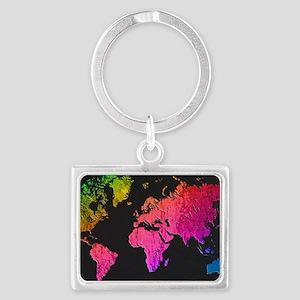 World Map Design Landscape Keychain