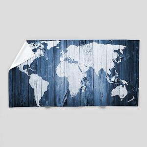 World Map Design Beach Towel