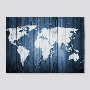 World Map Design 5'x7'Area Rug