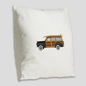 Surfer Car Burlap Throw Pillow