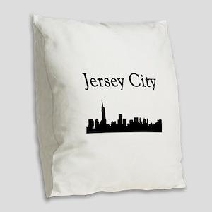 Jersey City Skyline Burlap Throw Pillow