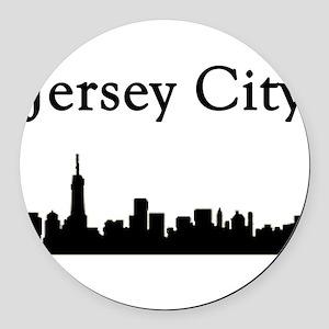 Jersey City Skyline Round Car Magnet