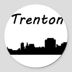 Trenton Skyline Round Car Magnet