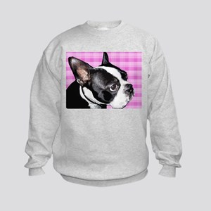Pink Retro Boston Terrier Kids Sweatshirt