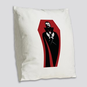 Draculas Coffin Burlap Throw Pillow