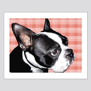 Red Plaid Boston Terrier Small Poster