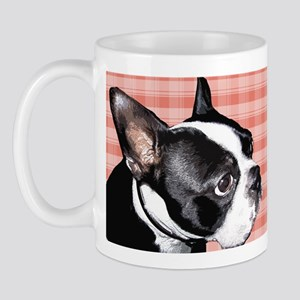 Red Plaid Boston Terrier Mug