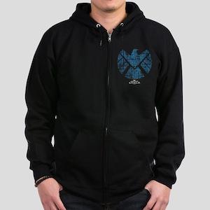 SHIELD Logo Alien Writing Zip Hoodie (dark)