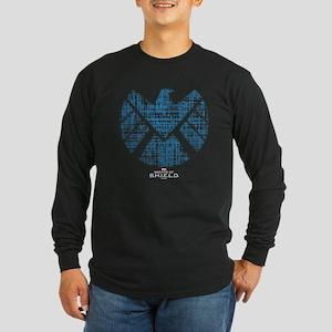 SHIELD Logo Alien Writing Long Sleeve Dark T-Shirt