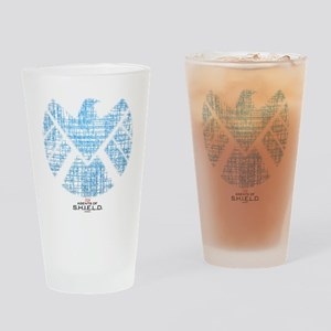 SHIELD Logo Alien Writing Drinking Glass