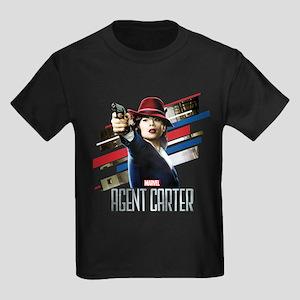 Agent Carter Stripes Kids Dark T-Shirt