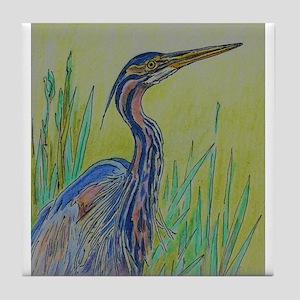 Purple Heron Tile Coaster