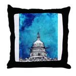 Stormy Weather Over The Capitol Throw Pillow