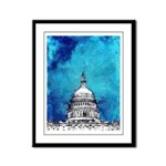 Stormy Weather Over The Capitol Framed Panel Print