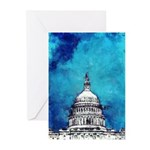Stormy Weather Over The Capitol Greeting Cards