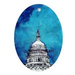 Stormy Weather Over The Capitol Ornament (Oval)
