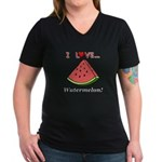 I Love Watermelon Women's V-Neck Dark T-Shirt