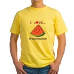 I Love Watermelon Yellow T-Shirt