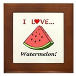 I Love Watermelon Framed Tile