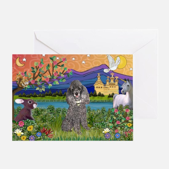 Silver Poodle Fantasy Greeting Card