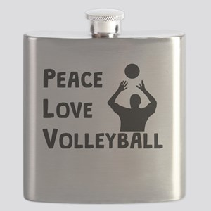 Peace Love Volleyball Flask