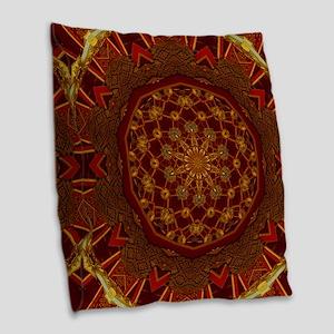 Gold Red Thai Kaleidoscope Burlap Throw Pillow