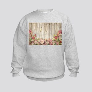 Vintage Rustic Romantic Roses Wood Sweatshirt
