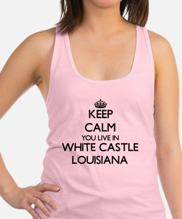 Keep calm you live in White Cas Racerback Tank Top