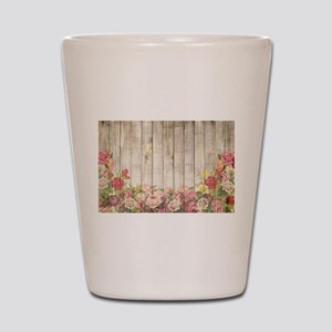 Vintage Rustic Romantic Roses Wood Shot Glass