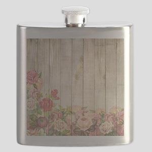 Vintage Rustic Romantic Roses Wood Flask
