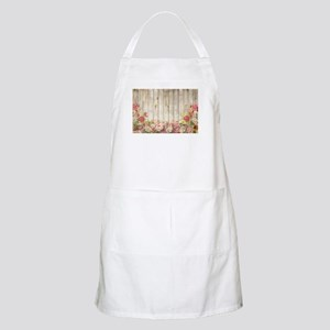 Vintage Rustic Romantic Roses Wood Light Apron
